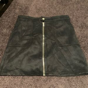 FAUX SUEDE BLACK SKIRT WITH BUILT IN PANTS